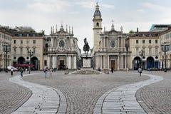 圣克罗广场,都灵,意大利 免版税库存图片