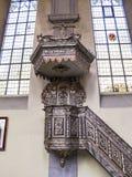 圣克莱门斯教会美好的内部看法在海恩巴,北莱茵-威斯特法伦德国,从第18 centur的巴洛克式的讲坛 库存图片