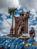 圣克里斯托瓦尔雕塑在语科库期间克里斯队伍的  图库摄影