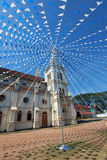 圣克鲁斯大教堂在科钦,装饰为圣诞节旗子 免版税库存照片