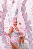 圣克鲁斯西班牙的狂欢节小组提出一个舞蹈展示里面  库存照片