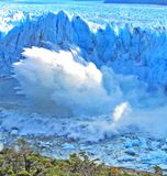 圣克鲁斯,阿根廷佩里托莫雷诺冰川省的破裂  图库摄影