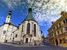 圣凯瑟琳, Banska Stiavnica,斯洛伐克教会  库存图片