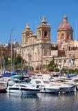 圣劳伦斯牧师会主持的教堂在比尔古,马耳他 库存照片