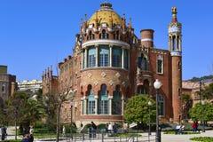 圣十字圣保罗医院在巴塞罗那,西班牙 免版税库存照片
