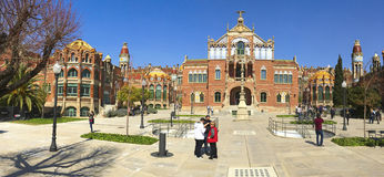 圣十字圣保罗医院在巴塞罗那,西班牙 库存图片