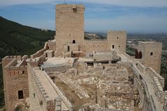 圣卡塔利娜de哈恩省城堡在安大路西亚西班牙 库存照片