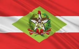 圣卡塔琳娜州,巴西旗子  免版税库存照片