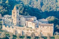 圣卡夏诺,纳尔尼,意大利修道院  免版税库存照片