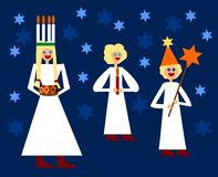 圣卢西亚北欧圣诞节传统形象 免版税库存照片
