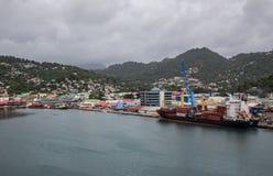 圣卢西亚和卡斯特里港口 免版税库存照片
