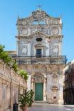 圣卢西亚教会在Badia,广场中央寺院, Ortigia, Siracusa, 免版税库存照片