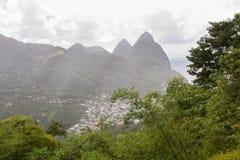 圣卢西亚的岩钉 免版税库存照片