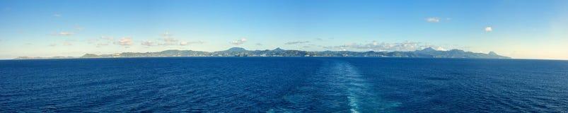 圣卢西亚的180度全景 库存图片