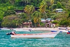 圣卢西亚- Soufriere的五颜六色的渔船 免版税库存照片