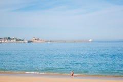 圣吉恩De Luz,巴斯克地区,法国海边视图  库存图片