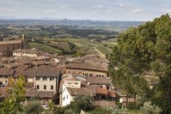 圣吉米尼亚诺,周边地区的看法,托斯卡纳,意大利 库存照片