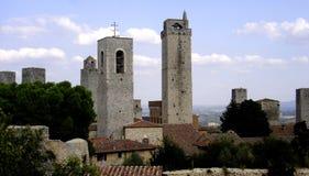 圣吉米尼亚诺,城市圣吉米尼亚诺,意大利的一幅全景 免版税库存照片