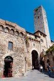 圣吉米尼亚诺,意大利- 9月07;在围住的Torre dei Becchi 免版税库存图片