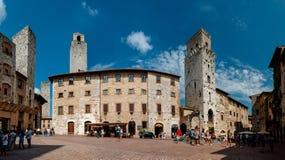 圣吉米尼亚诺,意大利- 9月07;广场在wa的della池 图库摄影