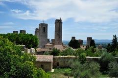 圣吉米尼亚诺,托斯卡纳多数浪漫镇 免版税库存图片