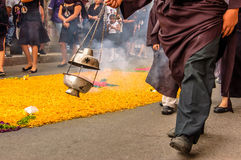 圣周六队伍,安提瓜岛,危地马拉 免版税图库摄影