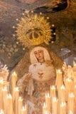 圣周在塞维利亚,念珠的圣母玛丽亚 免版税库存照片