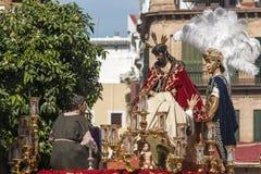 圣周在塞维利亚,圣埃斯特万团体  库存图片