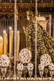 圣周在塞维利亚,介绍的圣母玛丽亚 库存图片