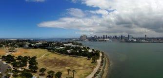 圣地亚哥全景从科罗纳多海岛 免版税库存图片