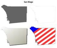 圣地亚哥县,加利福尼亚概述地图集合 库存图片