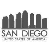 圣地亚哥地平线剪影设计城市传染媒介艺术 免版税库存照片