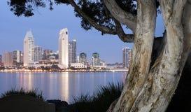圣地亚哥地平线街市城市江边科罗纳多海岛 免版税库存照片