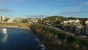 圣地亚哥沿海水域空中射击  股票录像
