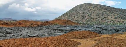 圣地亚哥海岛火山的风景  库存图片