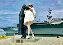 圣地亚哥码头木板走道USS中途博物馆 库存照片