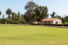 圣地亚哥草坪保龄球俱乐部大厦在巴波亚公园 库存照片