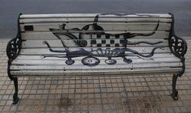圣地亚哥被绘的长凳在Las Condes,圣地亚哥de智利 库存照片