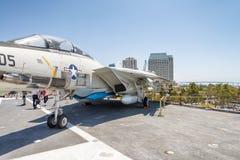 圣地亚哥- 2017年7月30日:历史的航空母舰, USS Mi 免版税库存图片