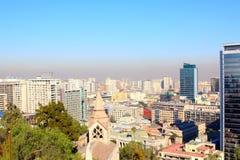 圣地亚哥de智利,全景地平线 库存照片
