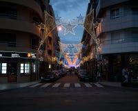 圣地佩德罗节日的照明在波瓦-迪瓦尔津,葡萄牙 免版税库存图片