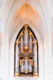 圣坛器官或管风琴在hallgrimskirkja教会在Reykjav 库存照片