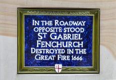 圣基布里埃尔Fenchurch蓝色匾标号站点  免版税库存照片