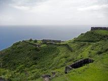 圣基茨岛,硫磺小山堡垒 免版税库存图片