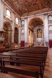 圣塔伦的亦称内部看见大教堂诺萨Senhora da康塞桑教会 库存图片