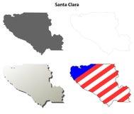 圣塔克拉拉县,加利福尼亚概述地图集合 免版税图库摄影