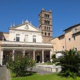 圣塔切奇利娅` s教会门面在Trastevere罗马 免版税图库摄影
