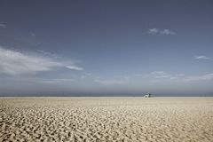 圣塔蒙尼卡海滩救生员塔在加利福尼亚美国 库存图片