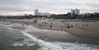 圣塔蒙尼卡海滩日落 库存图片