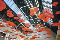 圣塔阿尼塔购物中心内部看法  免版税图库摄影